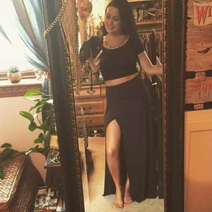 Forever 21 Black maxi with built in shorts XS